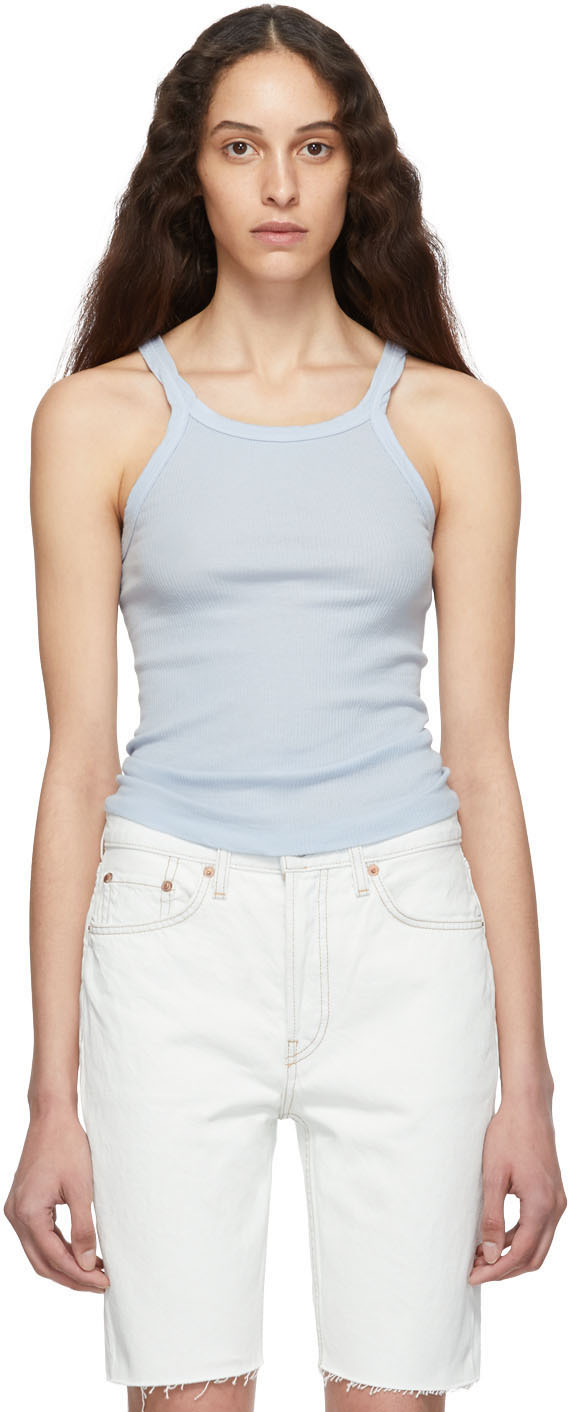 Re/done Tops Blue Ribbed Tank Top