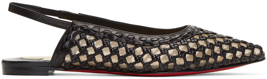 Christian Louboutin Flats Black Cage & Sling Flats