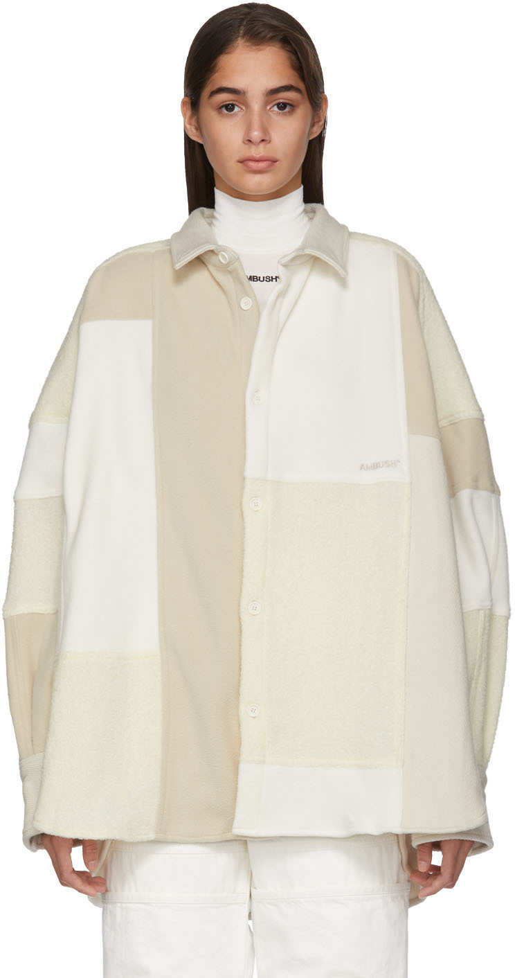 Ambush Jackets White Fleece Patchwork Shirt