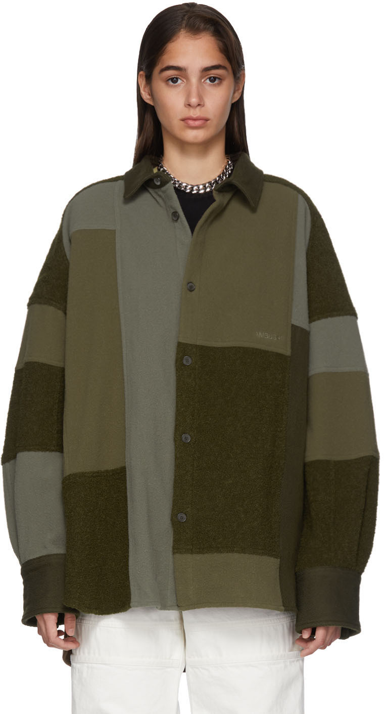 Ambush Jackets Green Fleece Patchwork Shirt