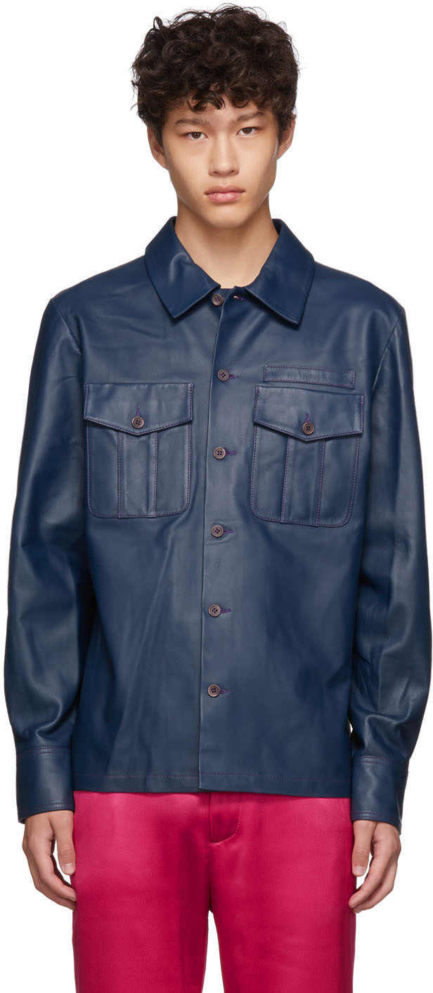 Sies Marjan Jackets Navy Leather Oliver Jacket