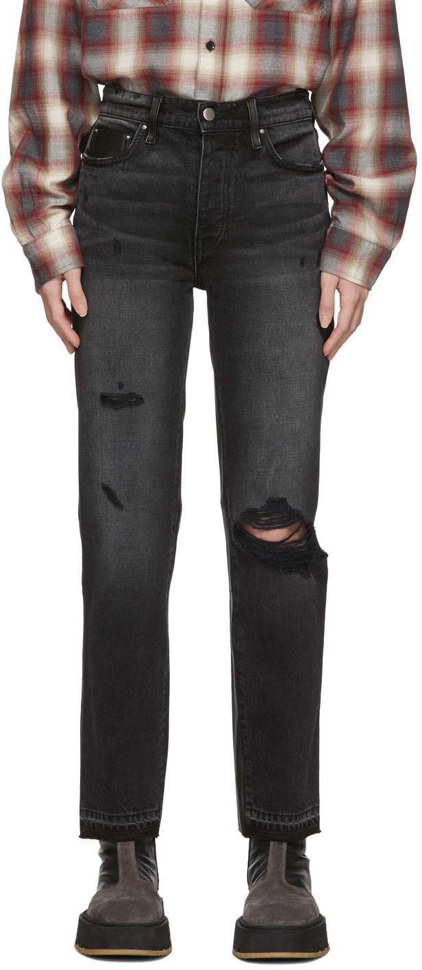 Amiri Jeans Black Leather & Denim Cropped Straight Jeans