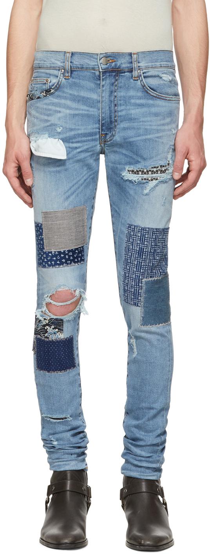 Amiri Jeans Blue Japanese Repair Jeans