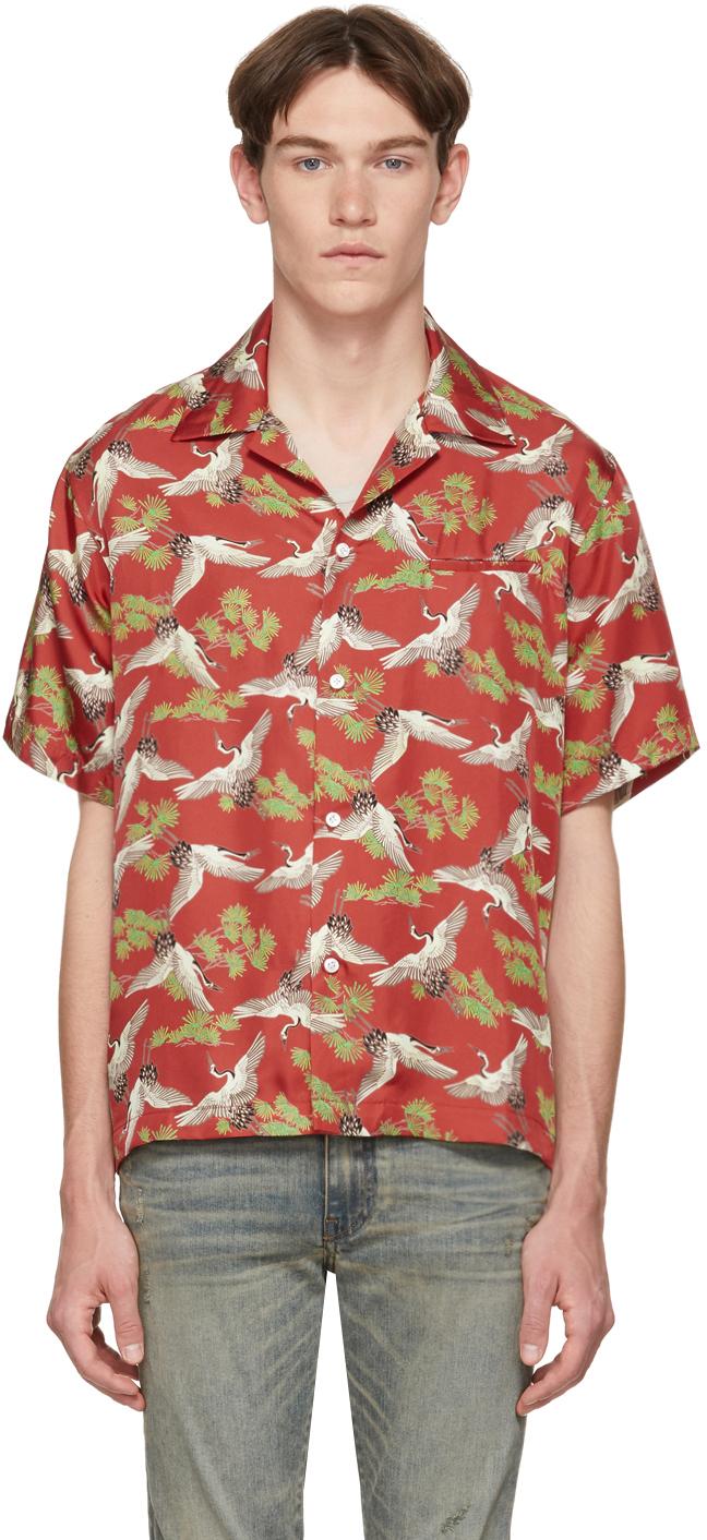Amiri T-shirts Red Silk Crane Short Sleeve Shirt