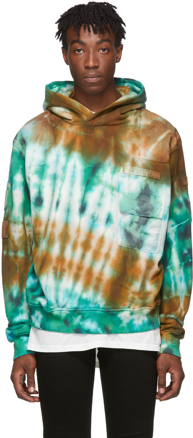 Amiri Ties Blue Tie-Dye Commando Patch Hoodie