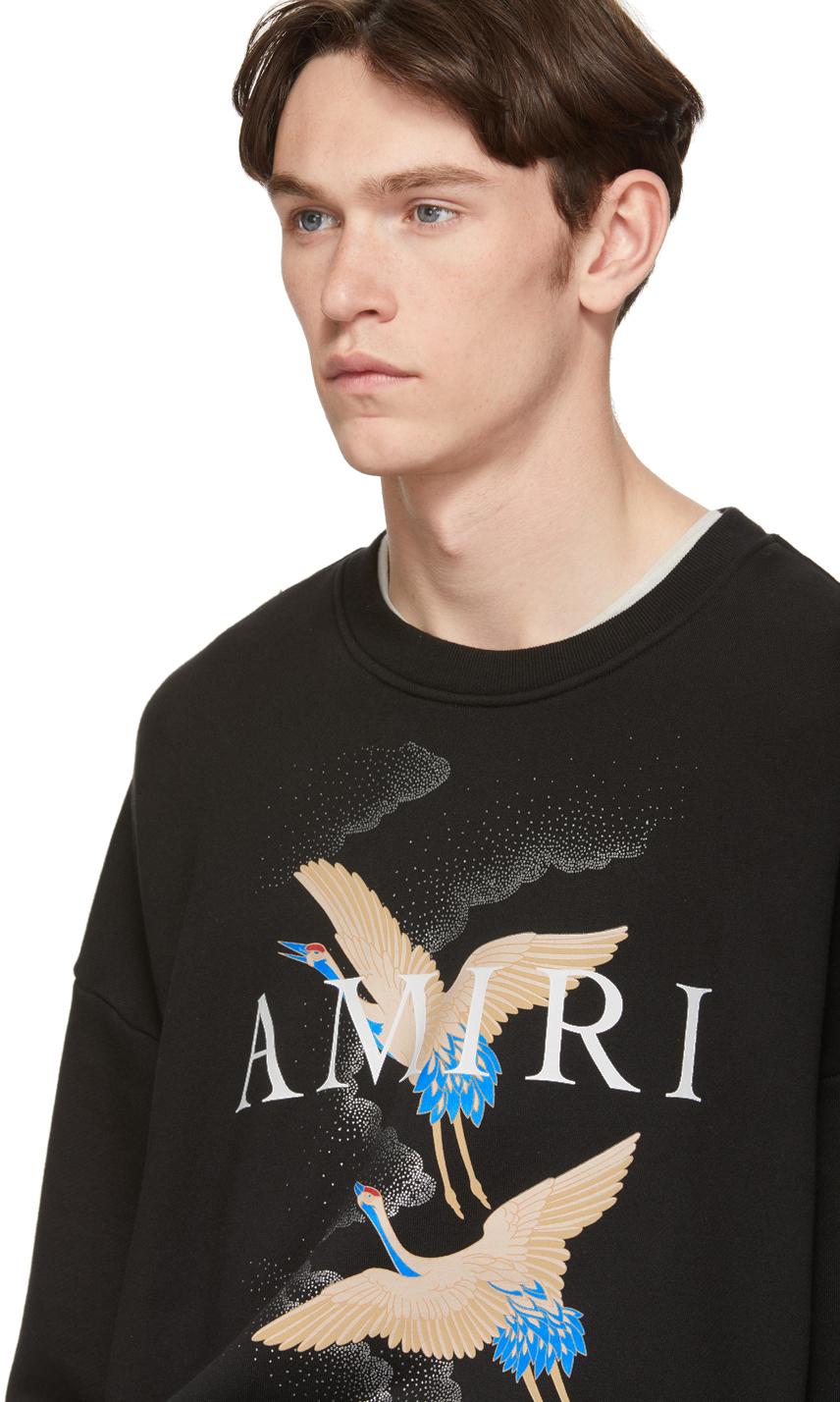 Amiri T-shirts Black Crane Sweatshirt