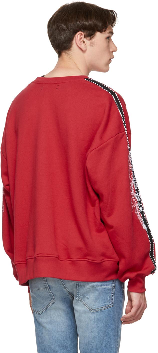 Amiri T-shirts Red Dragon Outline Sweatshirt