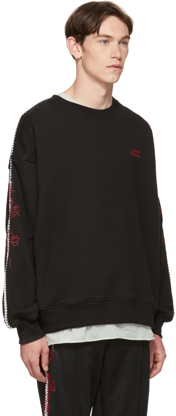 Amiri T-shirts Black Dragon Outline Sweatshirt