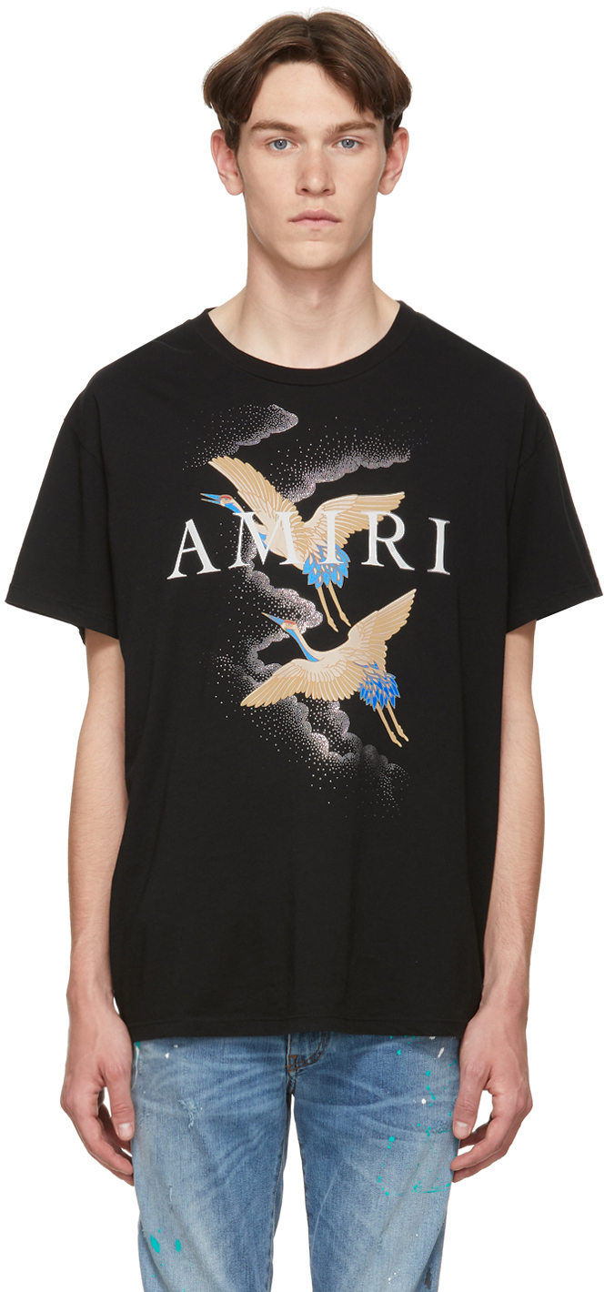Amiri T-shirts Black Crane T-Shirt