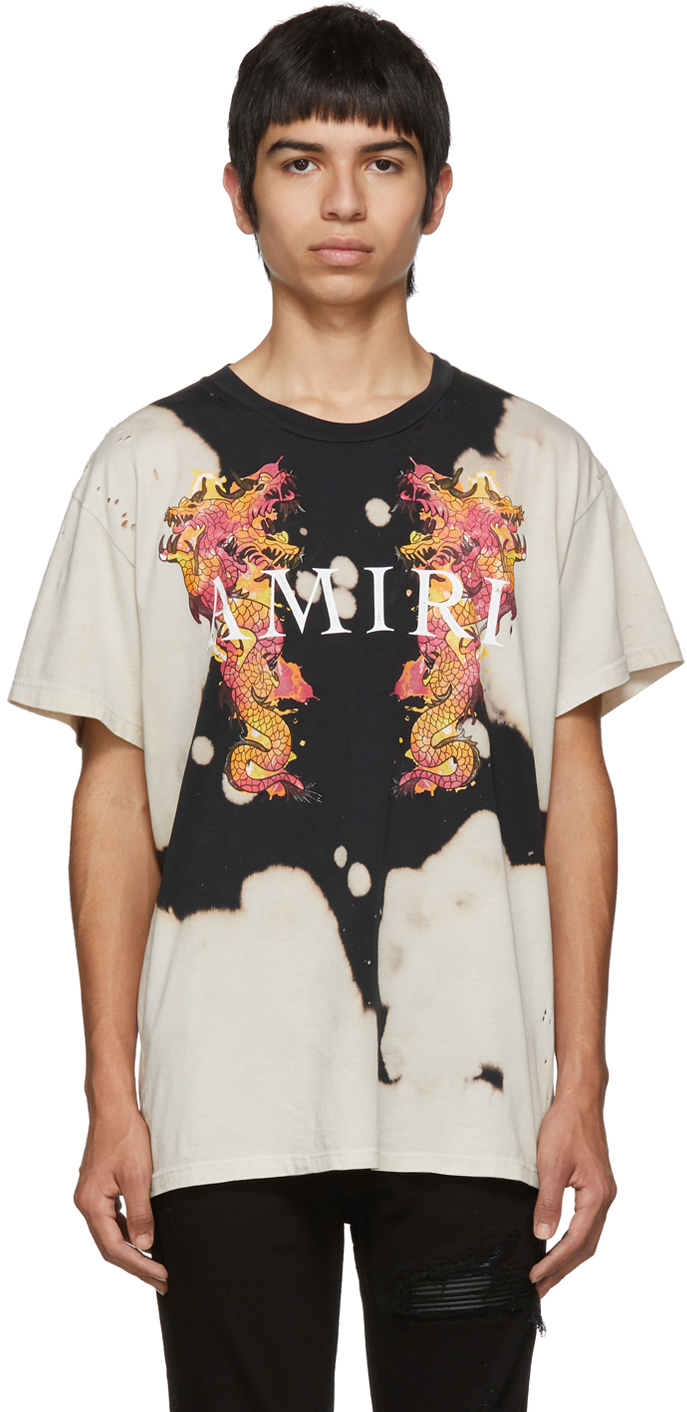 Amiri T-shirts Black & Off-White Watercolor Dragon T-Shirt