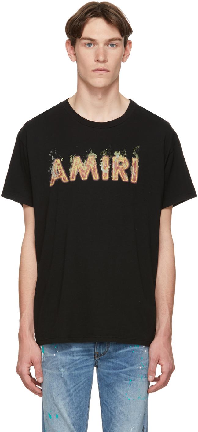 Amiri T-shirts Black Flame Logo T-Shirt