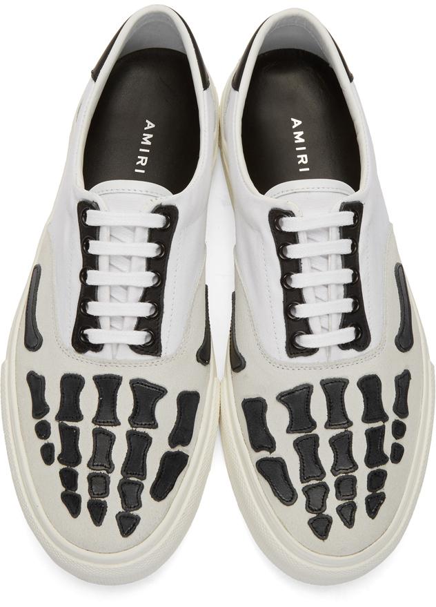 Amiri Sneakers White & Grey Skeleton Toe Sneakers