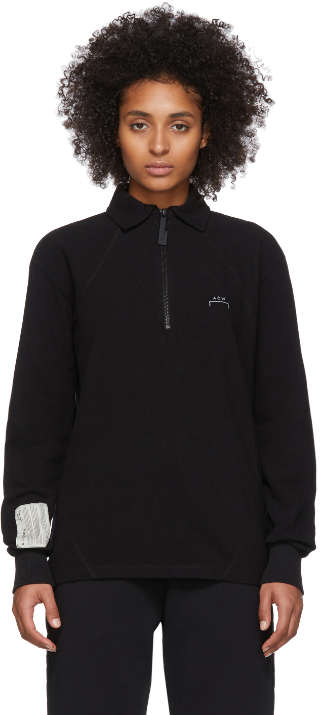 A-Cold-Wall* Accessories Black Zip Long Sleeve Polo