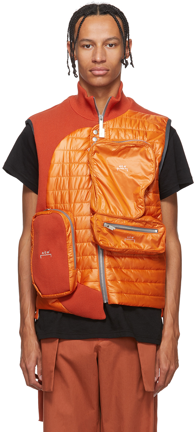 A-Cold-Wall* Accessories Orange Asymmetrical 3D Pocket Puffer Vest