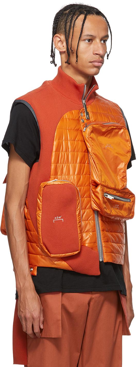 A-COLD-WALL* Downs Orange Asymmetrical 3D Pocket Puffer Vest