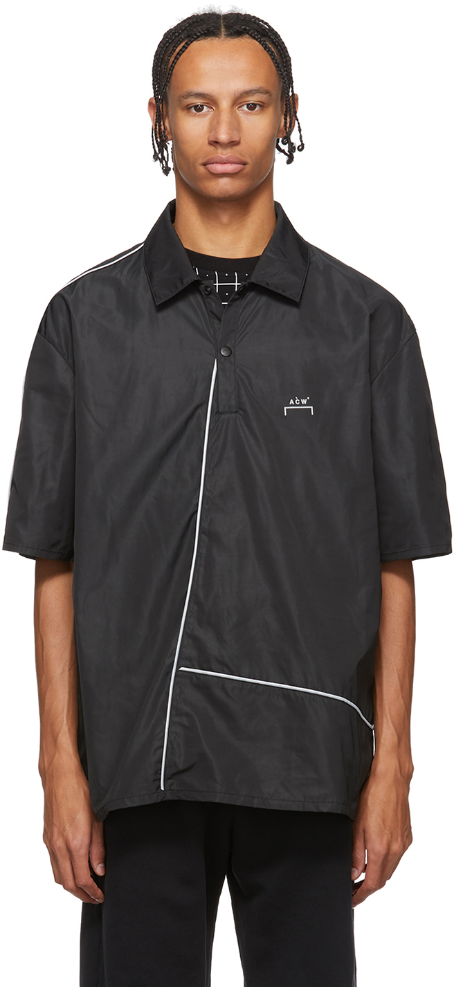 A-Cold-Wall* Accessories Black Piping Center Zip Polo