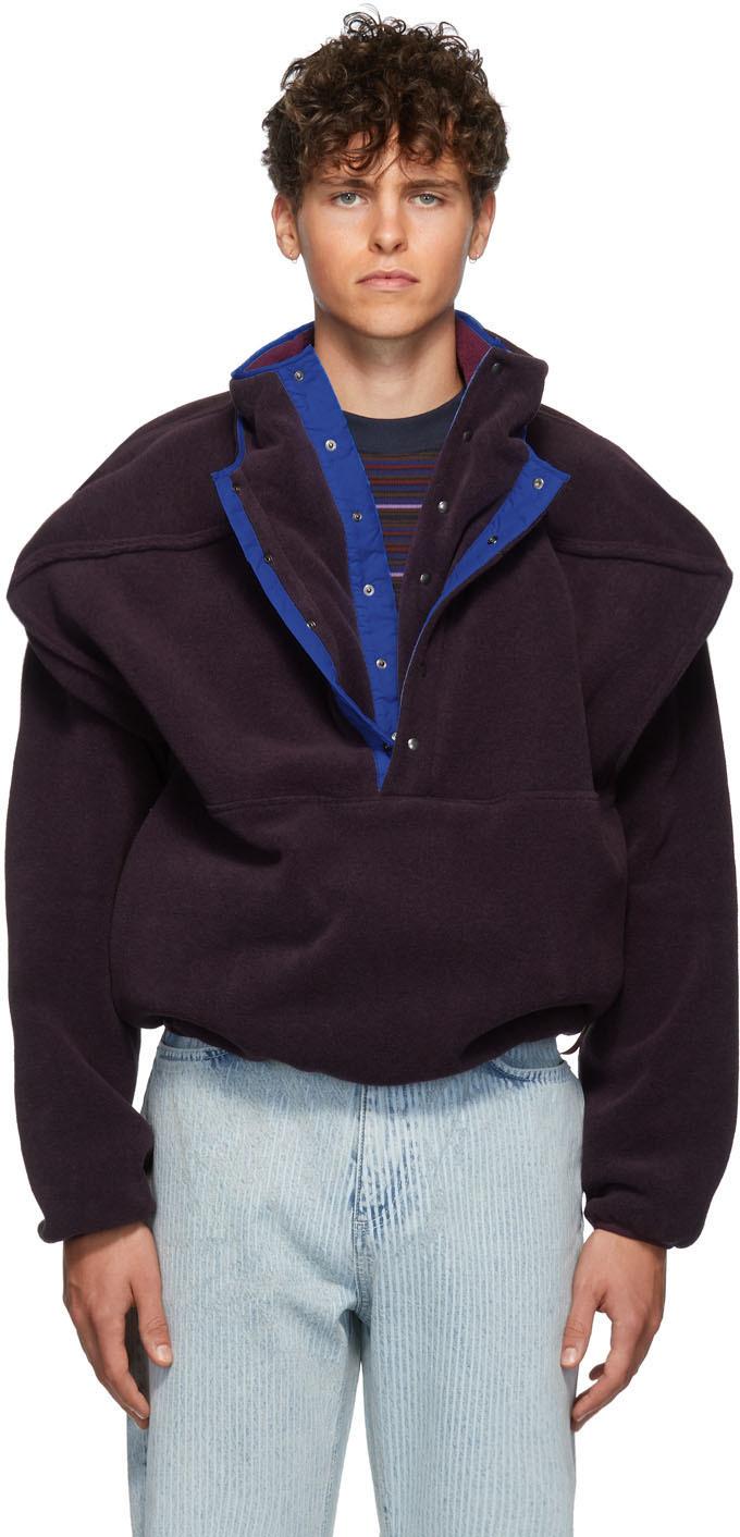 Y/project Sweaters Purple Fleece Pop-Up Sweater