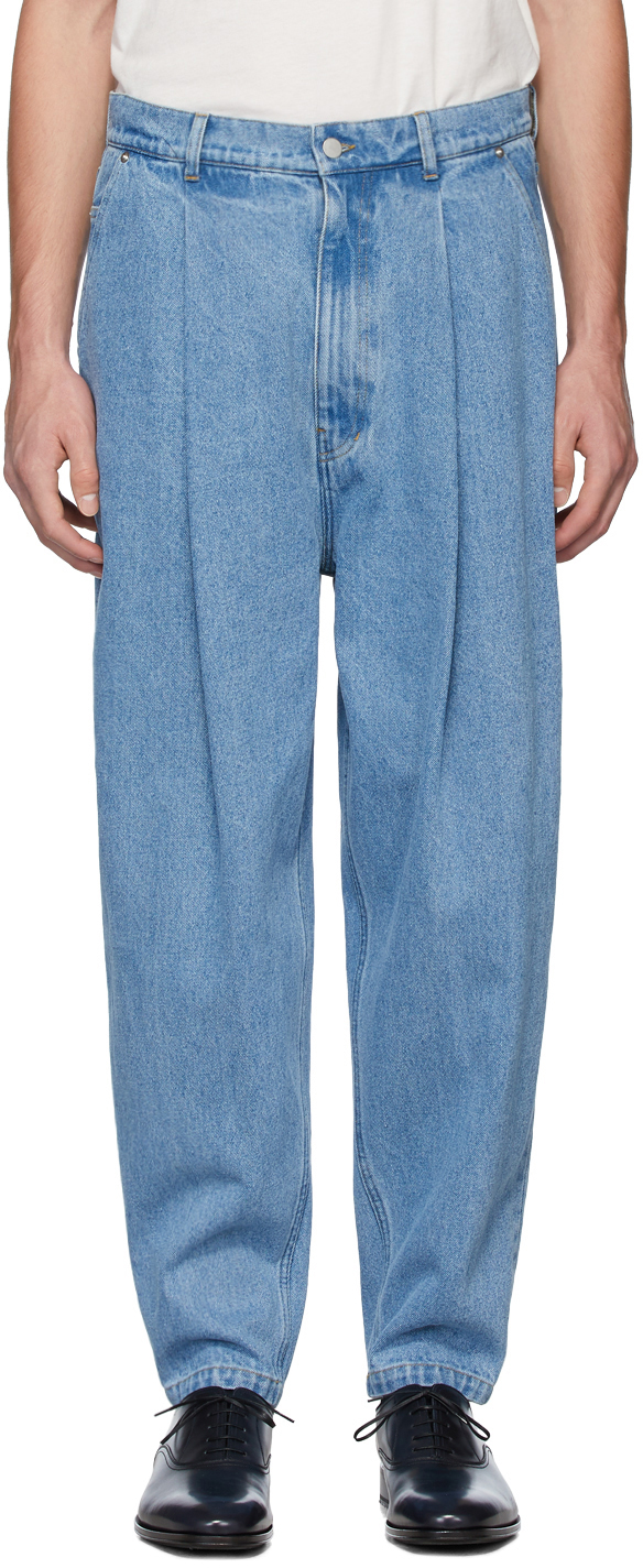 Hed Mayner Jeans Blue Pleated Jeans