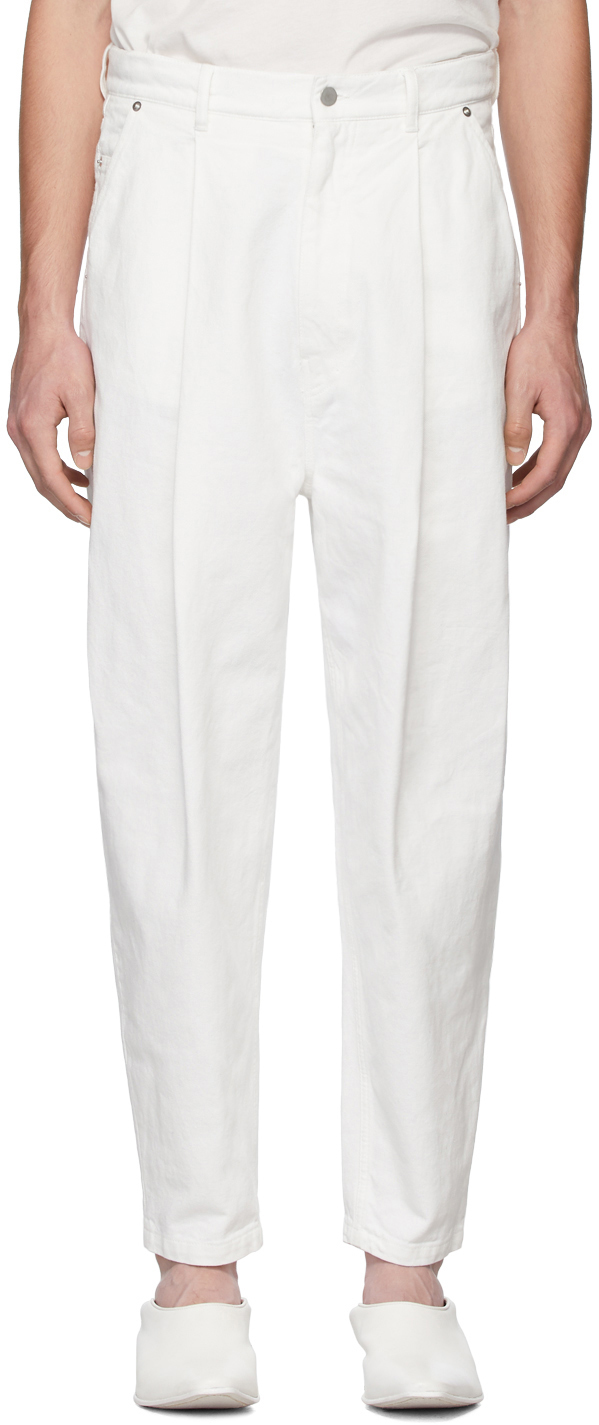 Hed Mayner Jeans White Pleated Jeans