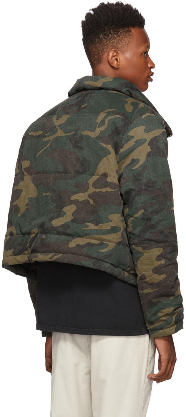 Rhude Jackets Green Camo Puffer Rhonda Jacket