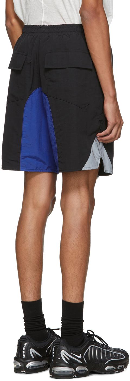 Rhude Shorts Black & Blue Logo Colorblock Shorts