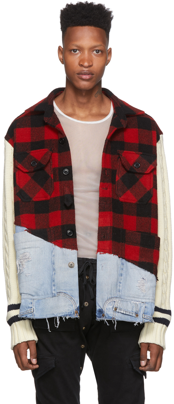 Greg Lauren Jackets Red Denim 50/50 Check Studio Jacket