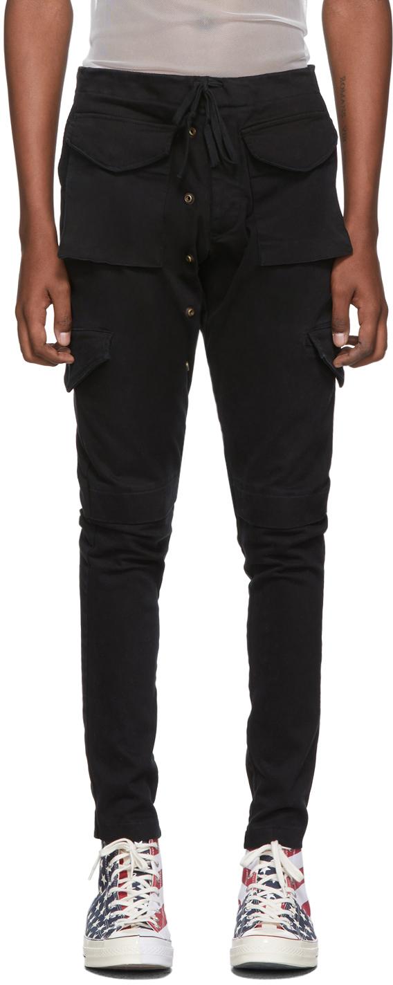 Greg Lauren Pants Black Denim Cargo Pants