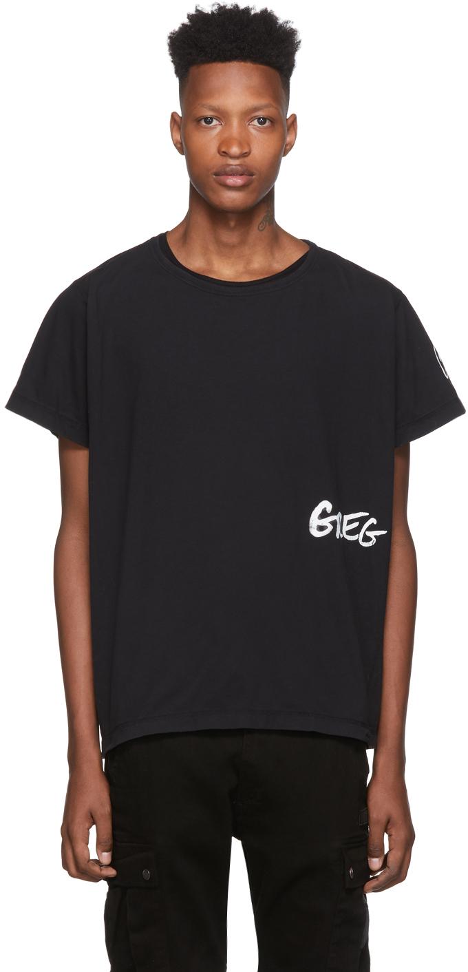 Greg Lauren T-shirts Black Logo Deconstructed T-Shirt