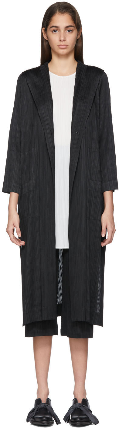 Pleats Please Issey Miyake Coats Black Pleated Hooded Coat