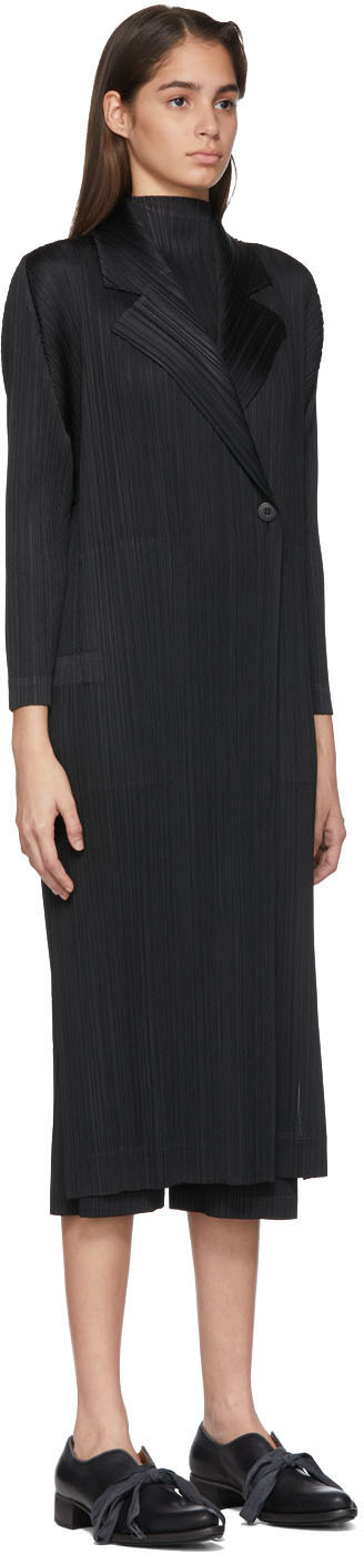 Pleats Please Issey Miyake Coats Black Pleated Mannish Coat