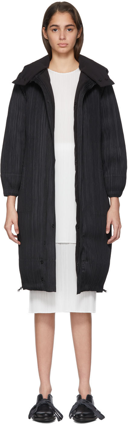 Pleats Please Issey Miyake Coats Reversible Black Down Plisse Coat