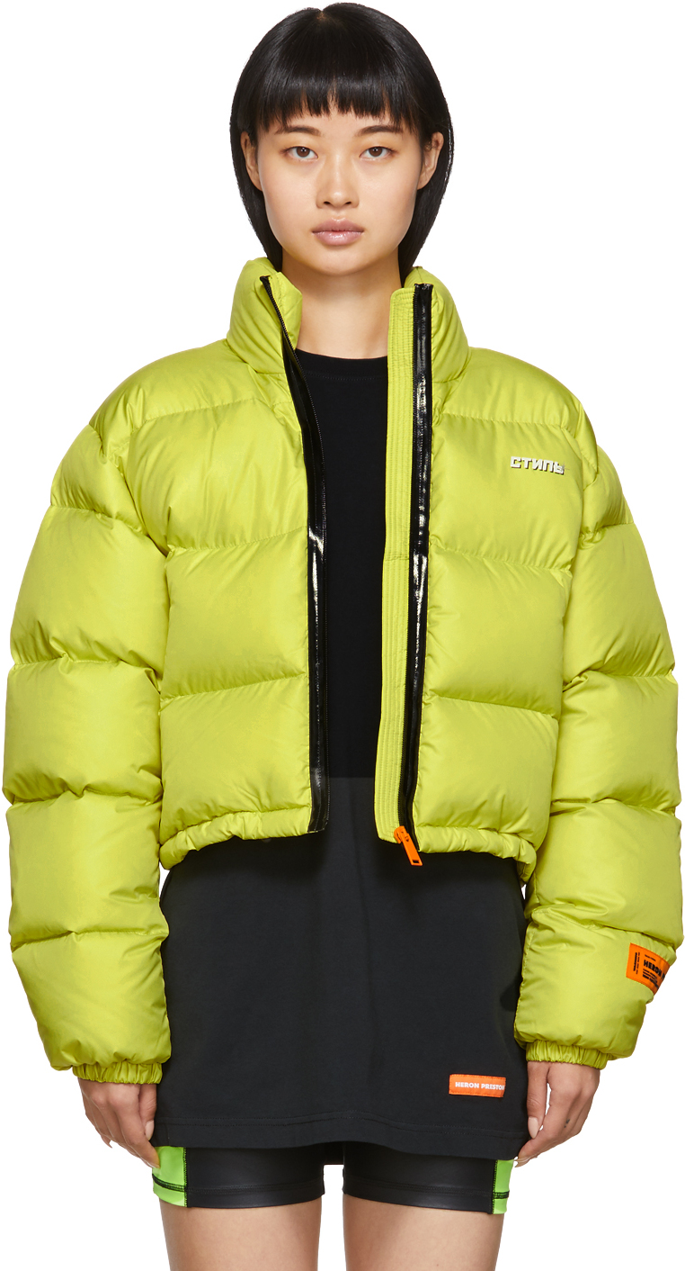 Heron Preston Jackets Yellow Down Cropped Puffer Jacket