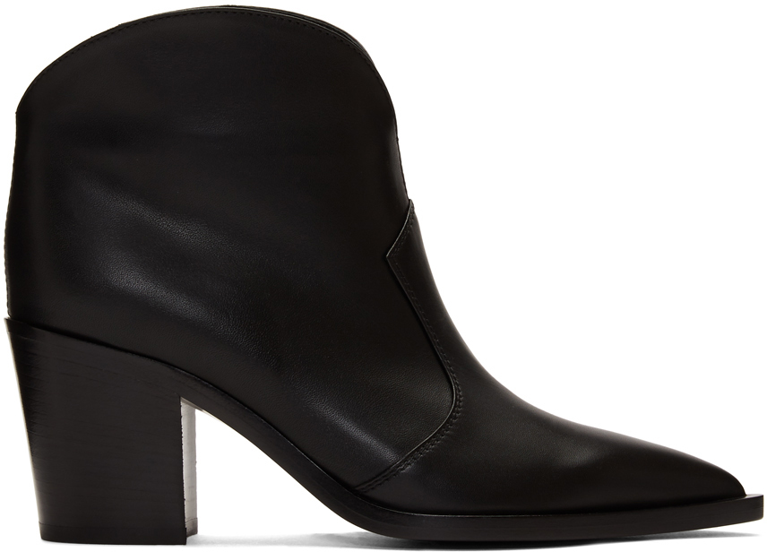 Gianvito Rossi Boots Black Leather Cowboy Boots