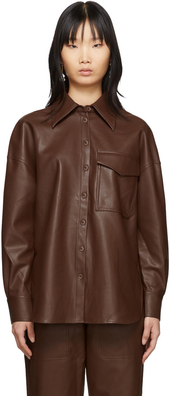 Tibi T-shirts Brown Faux-Leather Utility Blouse
