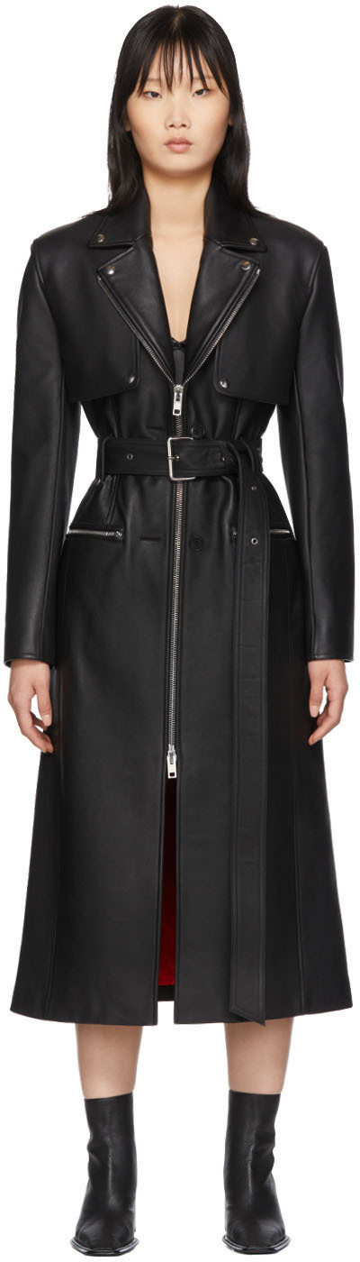 Alexander Wang Coats Black Leather Moto Trench Coat