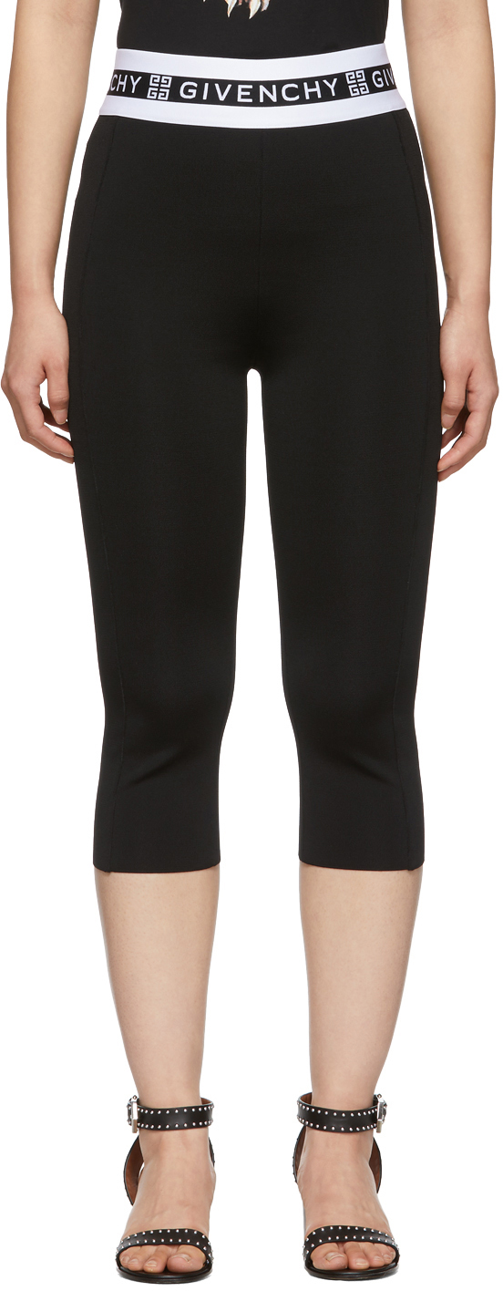 Givenchy Pants Black Cropped Logo Leggings