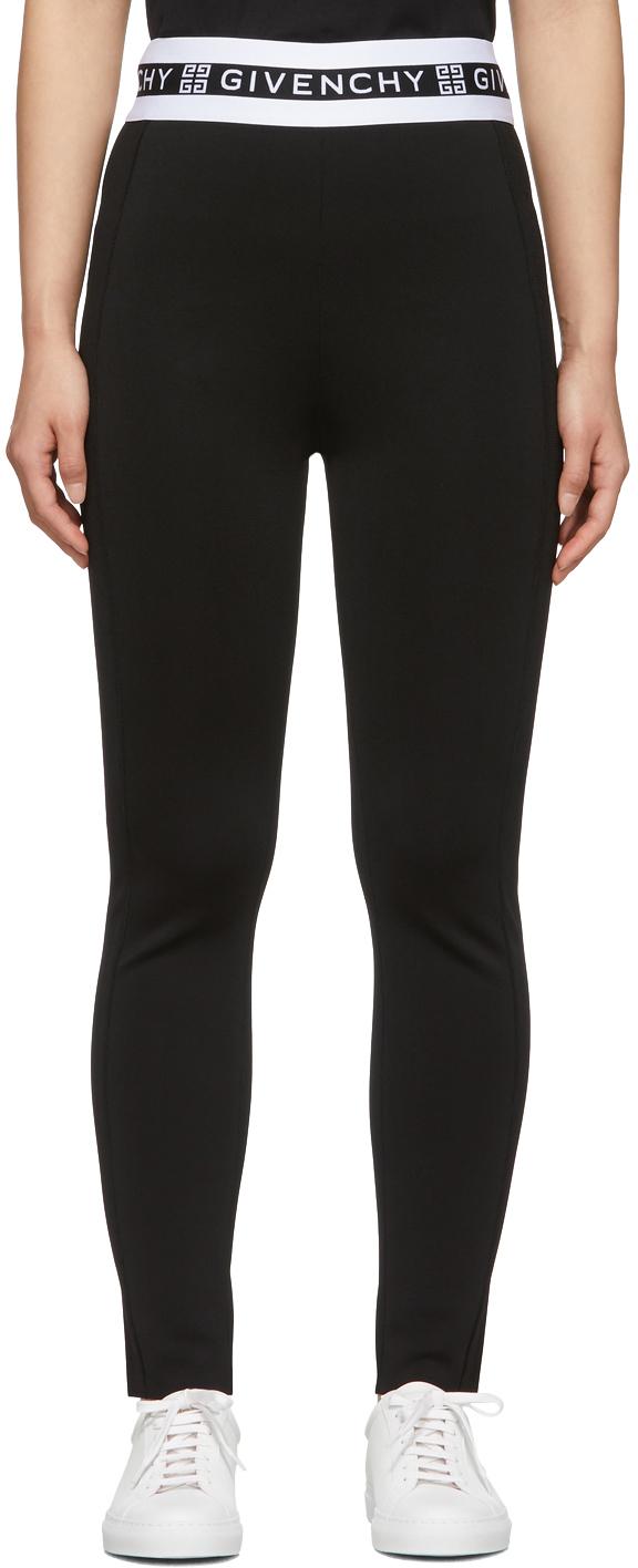 Givenchy Pants Black Logo Band Leggings