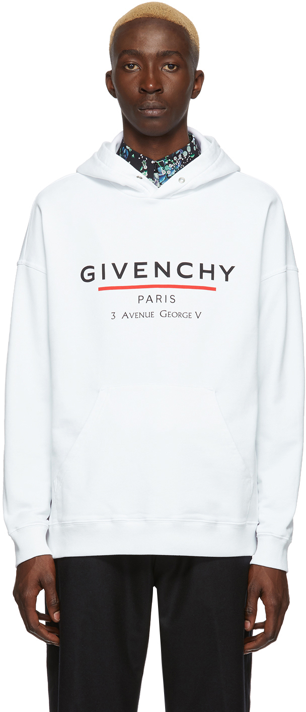 Givenchy Dresses White Logo Address Hoodie
