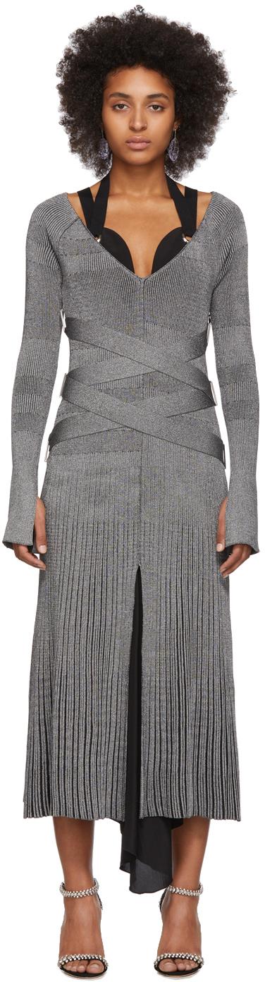 Proenza Schouler Dress Silver Silk Knit Long Sleeve Dress