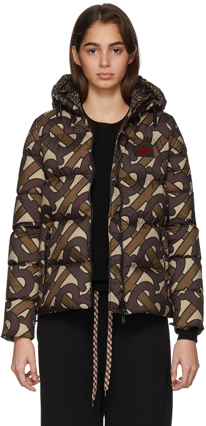 Burberry Jackets SSENSE Exclusive Brown Monogram Puffer Down Leith Jacket