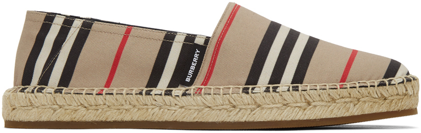 Burberry Beige Alport Icon Stripe Espadrilles