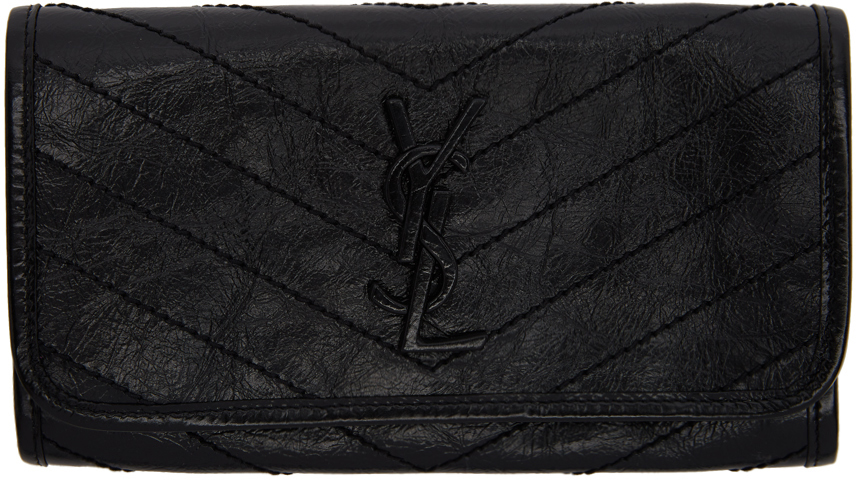 Saint Laurent Wallets Black Large Flap Niki Wallet