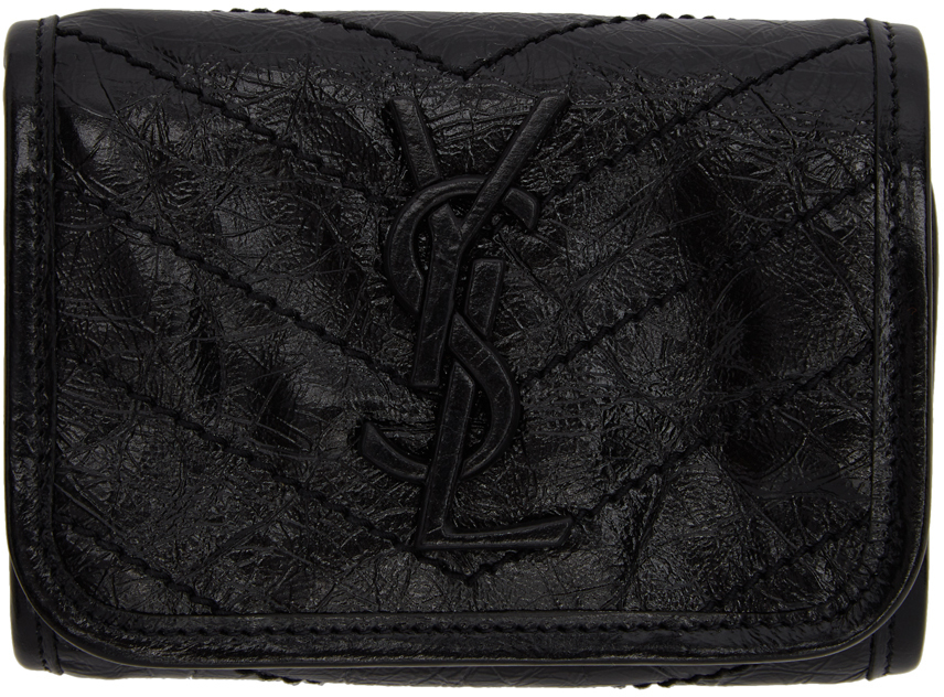 Saint Laurent Wallets Black Trifold Compact Niki Wallet