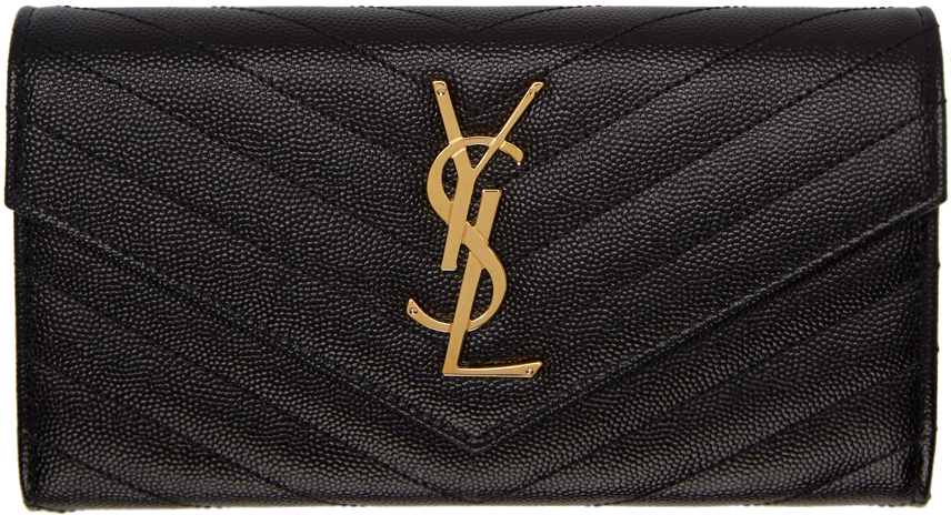 Saint Laurent Wallets Black & Gold Large Monogramme Flap Wallet