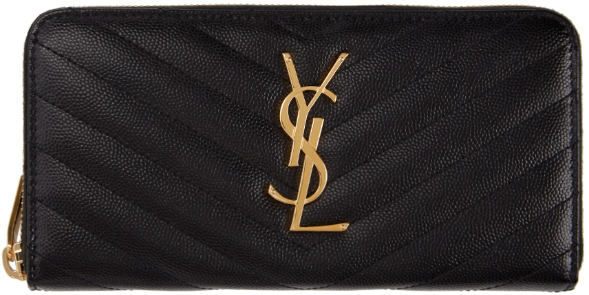 Saint Laurent Wallets Black Monogramme Zip Around Wallet