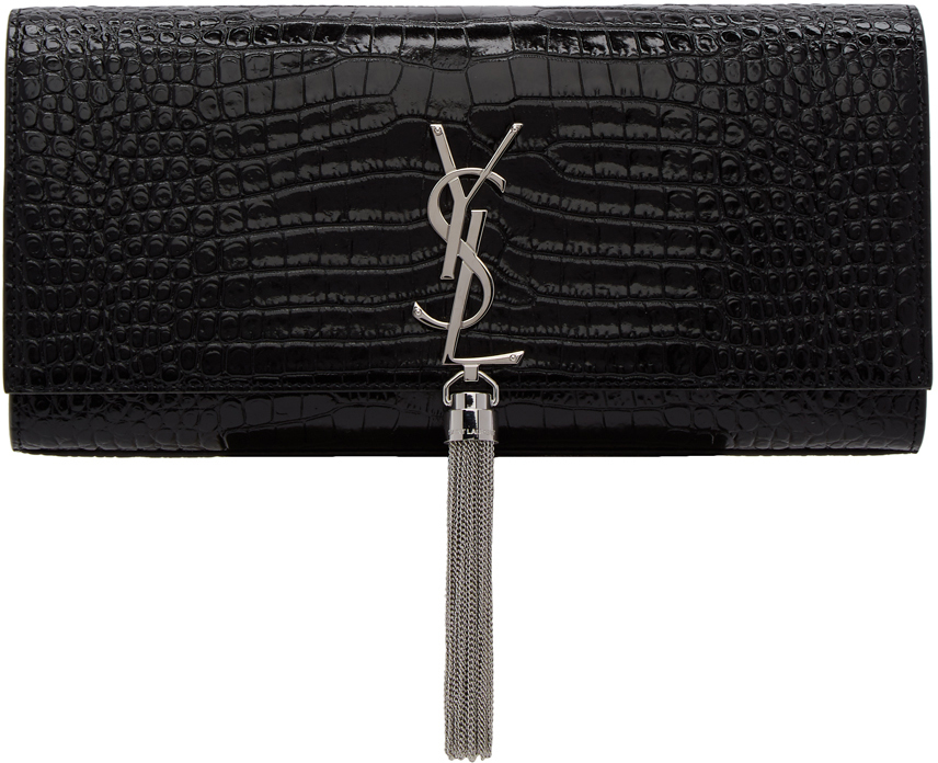 Saint Laurent Clutch Black Croc Kate Tassel Clutch