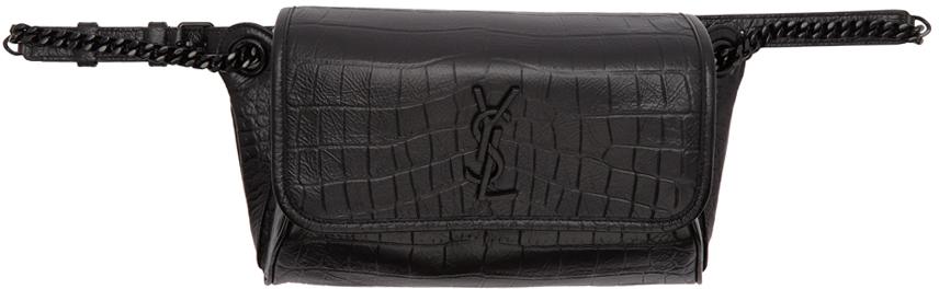 Saint Laurent Belt Black Croc Niki Belt Bag