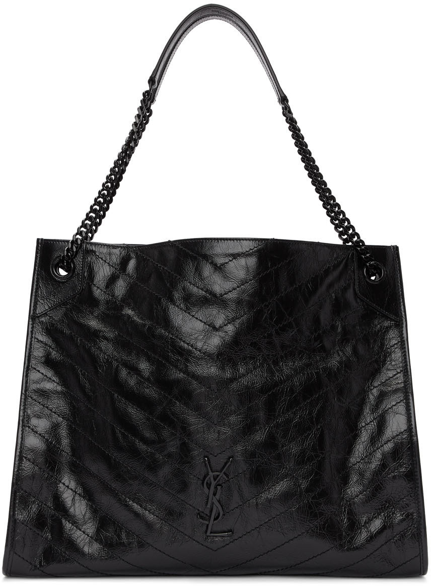 Saint Laurent Totes Black Large Quilted Tote Bag