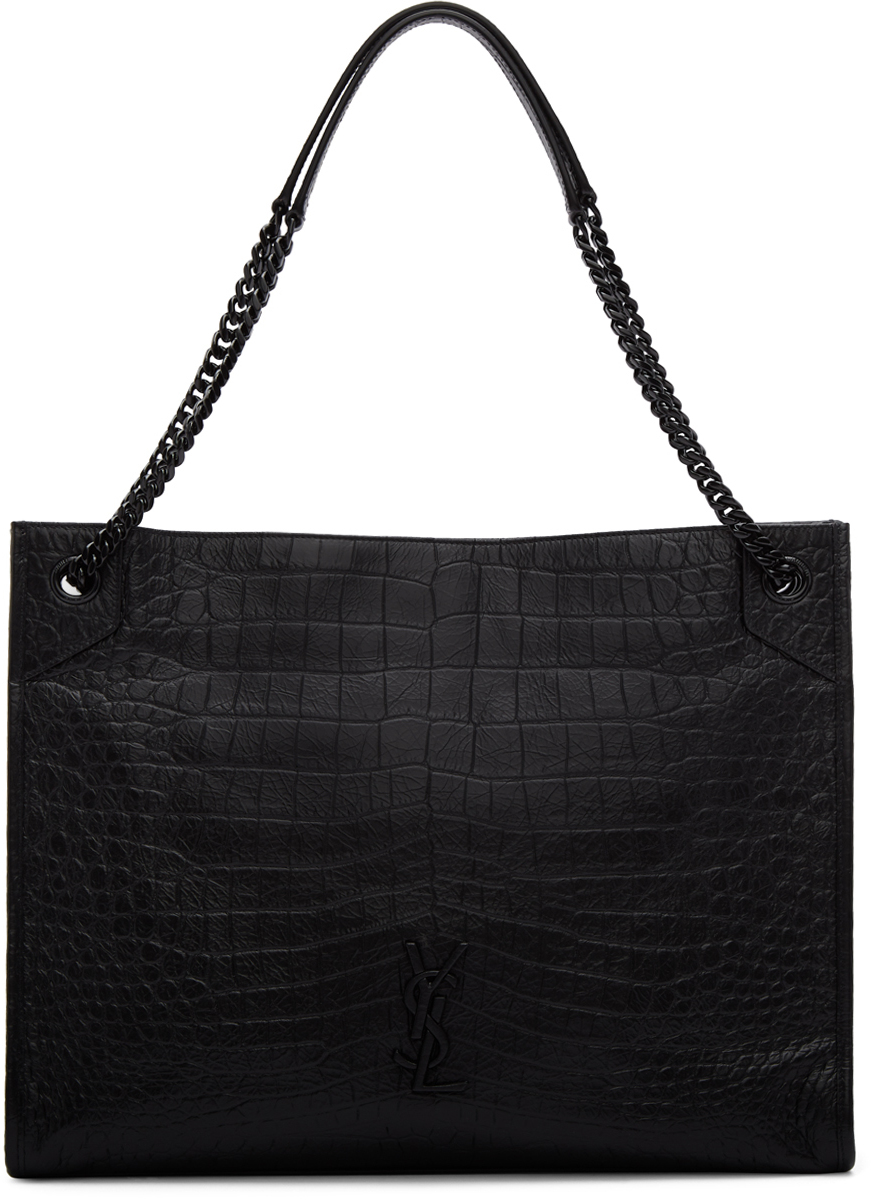Saint Laurent Totes Black Croc Large Niki Shopping Tote