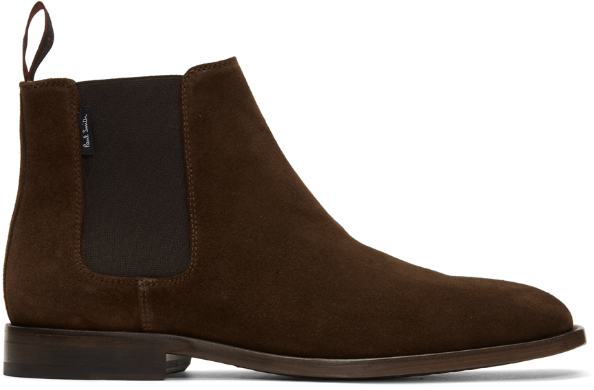 Ps By Paul Smith Boots Brown Suede Gerald Chelsea Boots